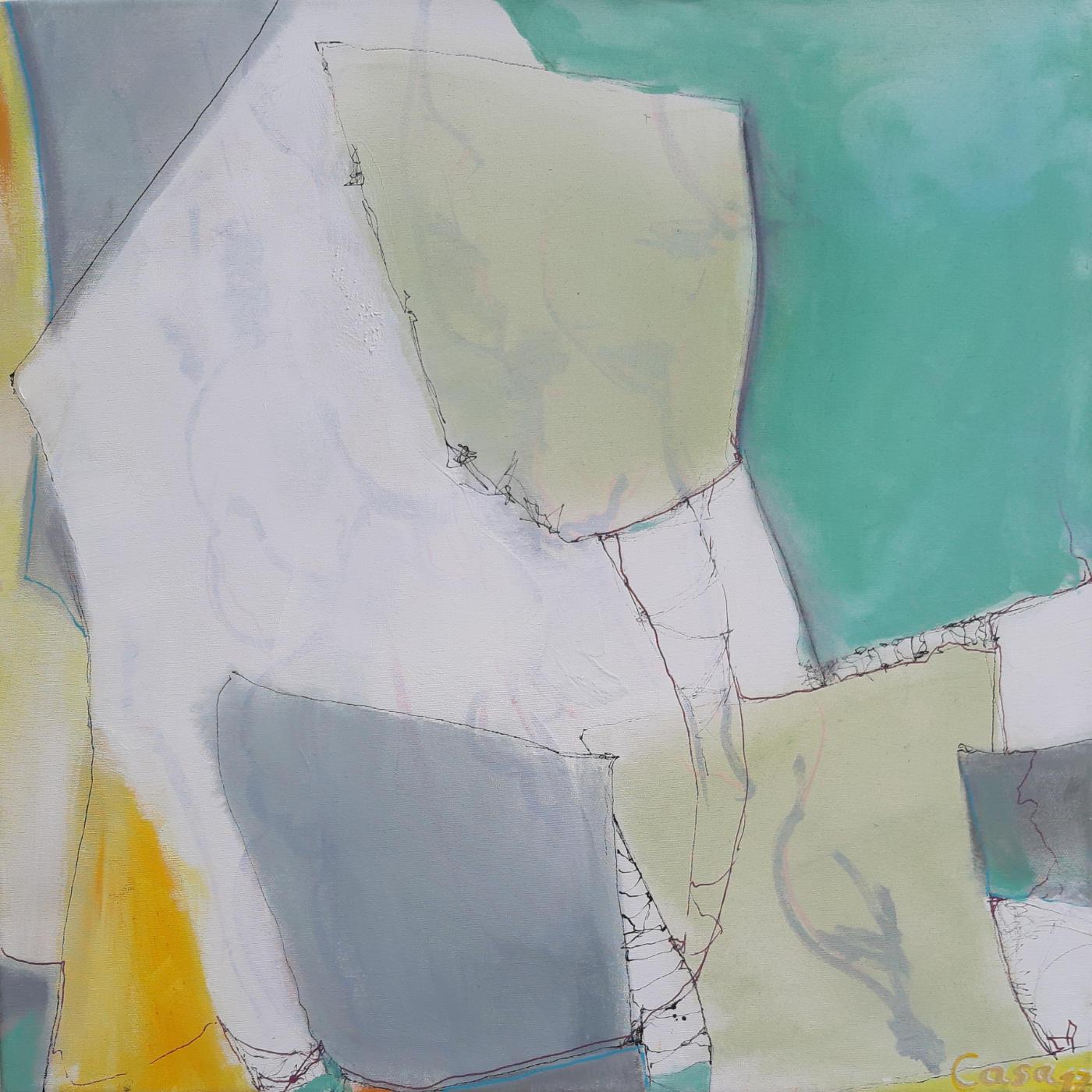 Coole Quader - Acryl und Tusche auf Leinwand, 60 x 60 cm