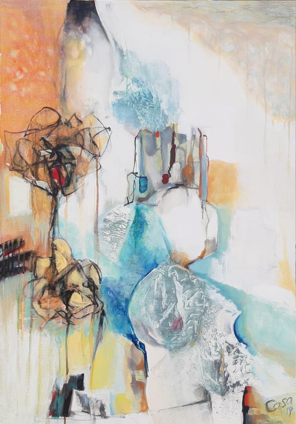 Eins - Acryl, mixed media auf Leinwand, 100 x 70 cm