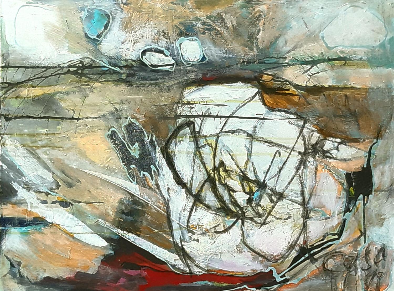 Rose wild - Acryl, mixed media auf Leinwand, 60 x 80 cm