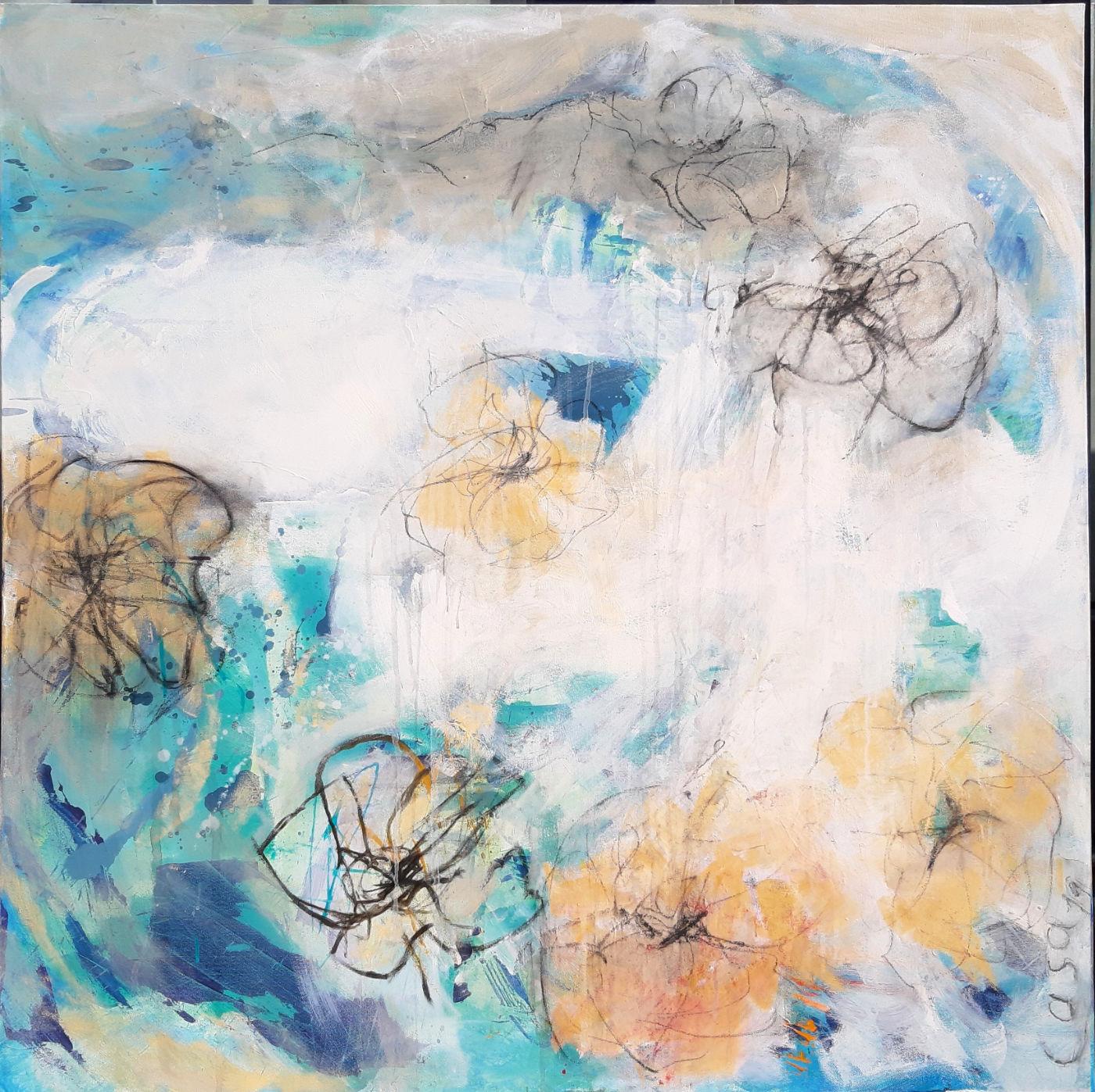 Rose Du - Acryl, mixed media auf Leinwand, 100 x 100 cm