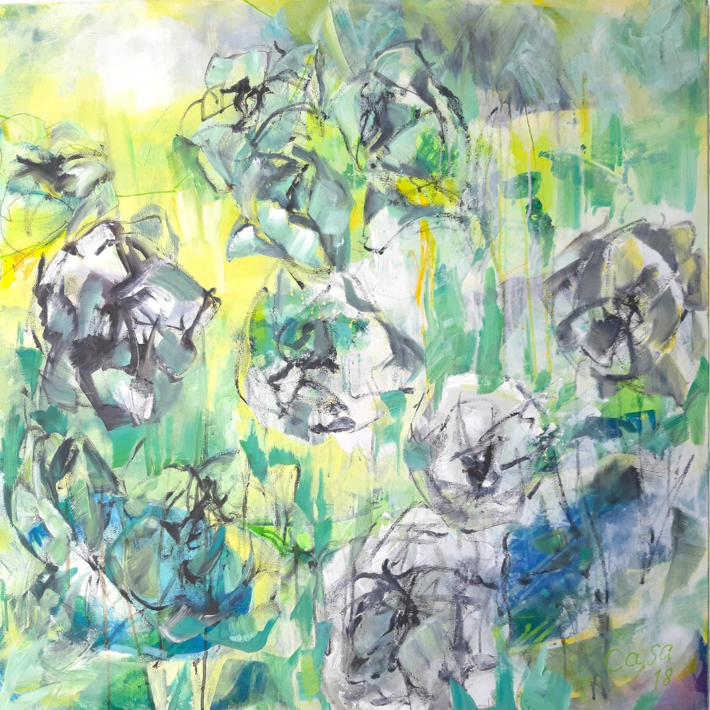 Reigen Rose - Acryl, mixed media auf Leinwand, 100 x 100 cm