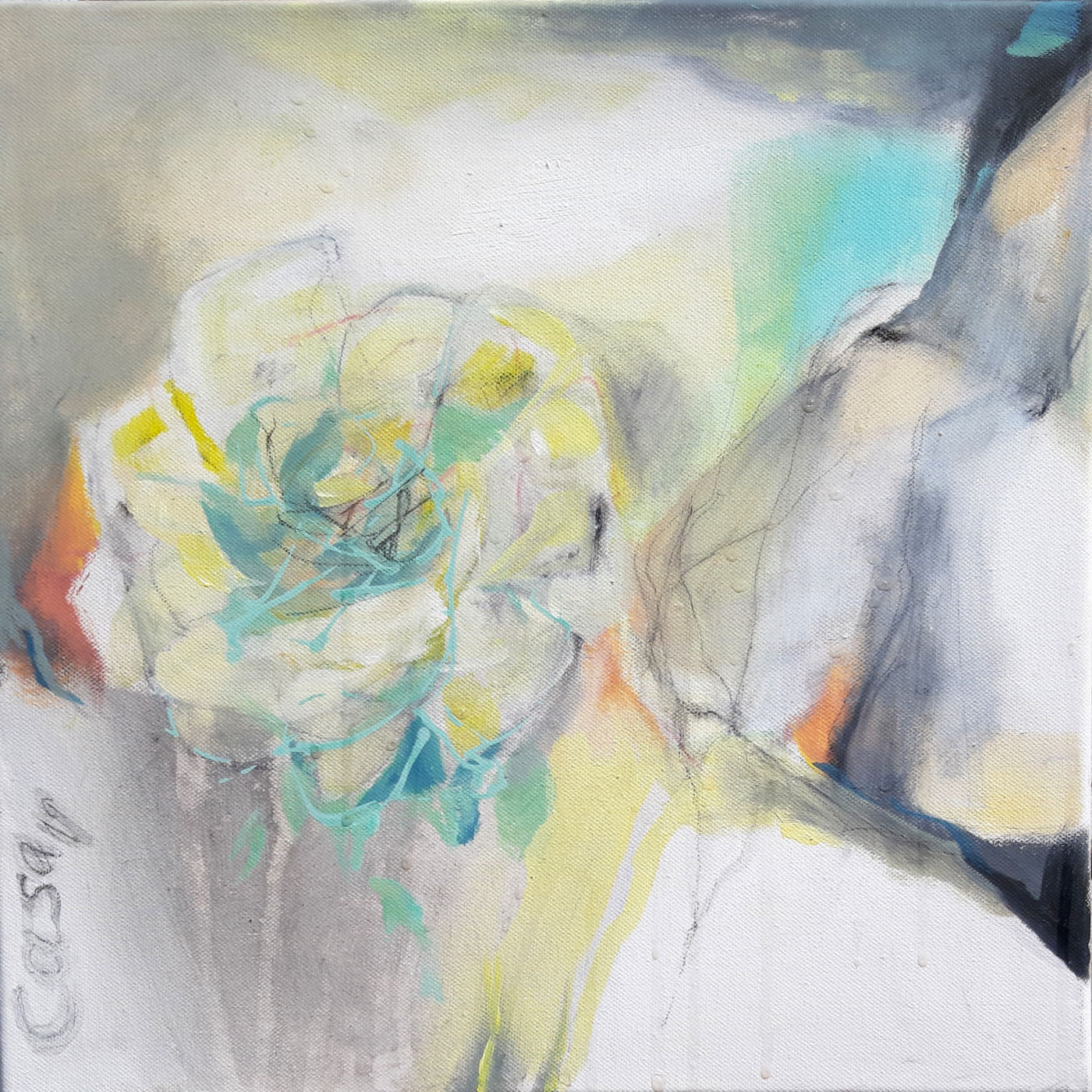 Rose allein - Acryl, mixed media auf Leinwand, 40 x 40 cm