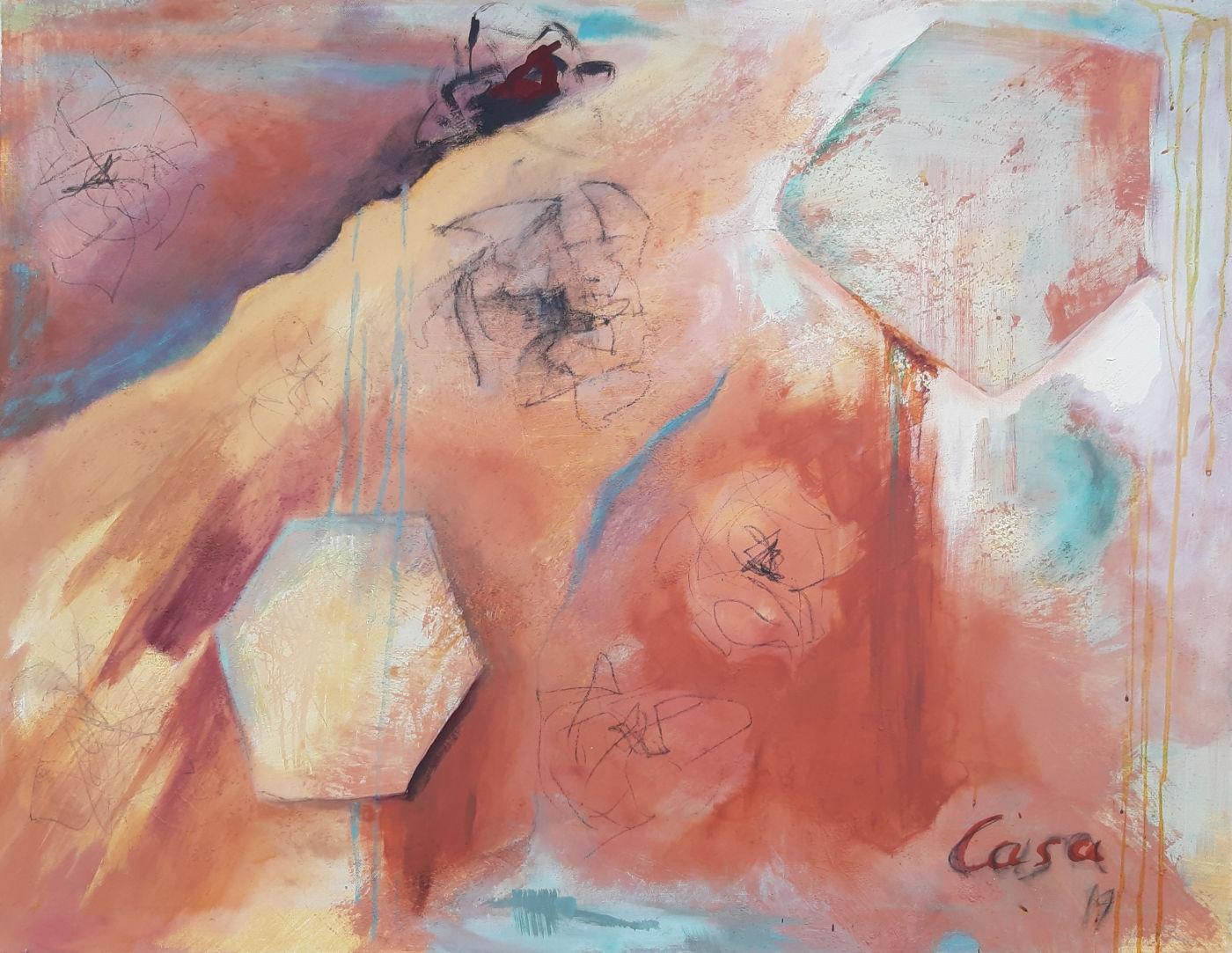 Sternentfernung - Acryl, mixed media auf Leinwand, 70 x 90 cm
