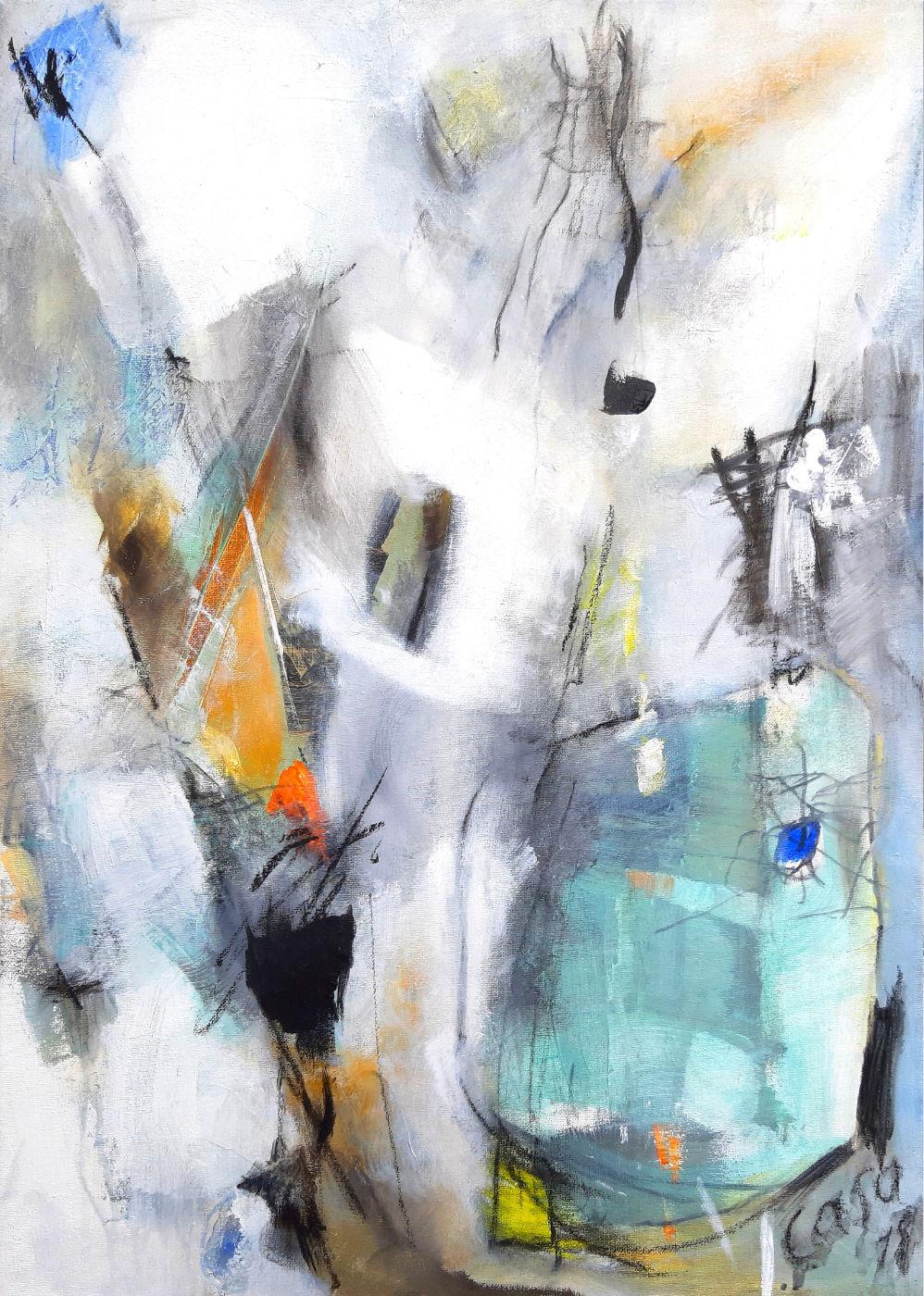Hohe Stufen - Acryl mixed media auf Leinwand, 70x50cm