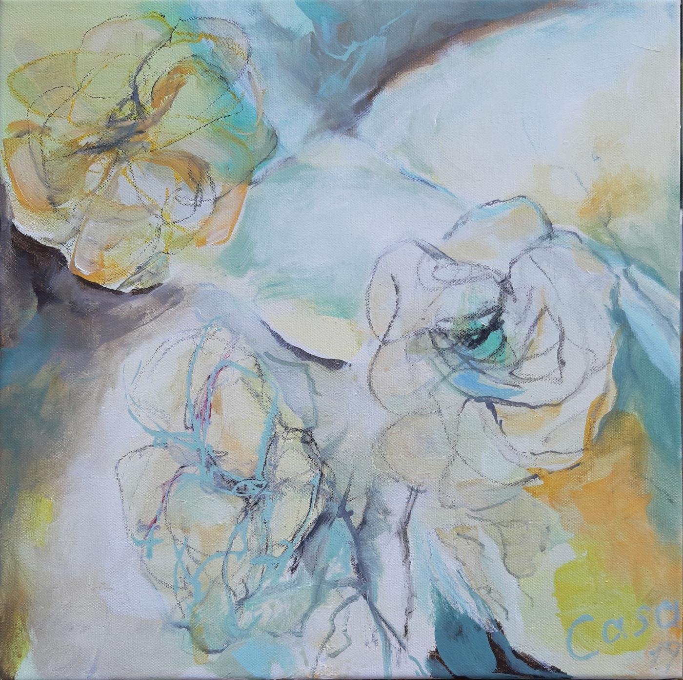 Rosen drei - Acryl, mixed media auf Leinwand, 40 x 40 cm