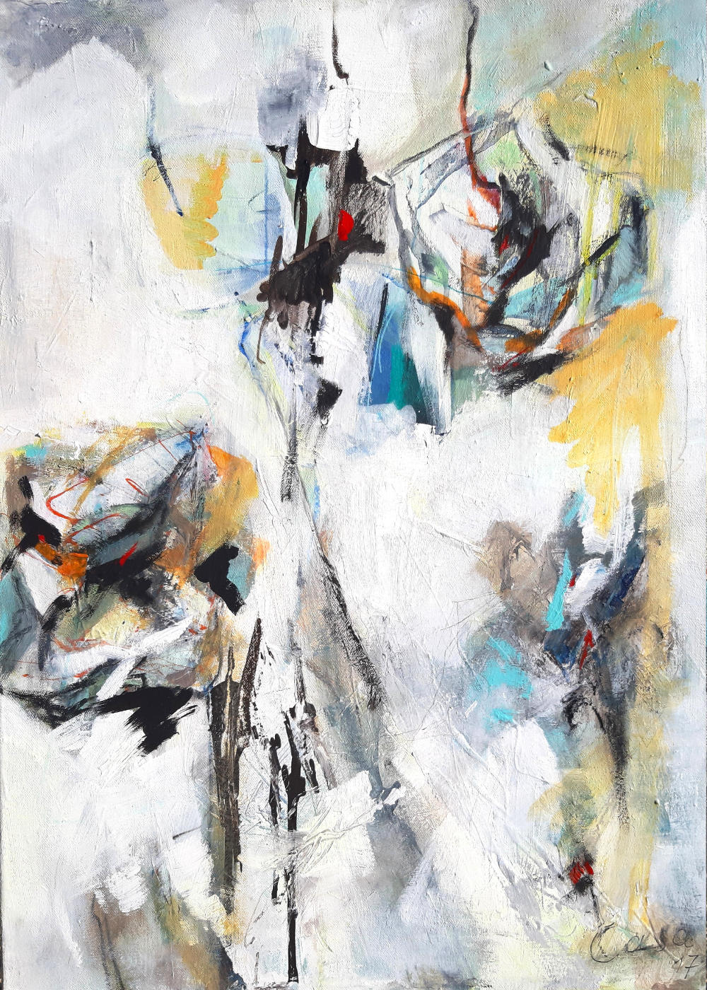 Rosen Stufen - Acryl mixed media auf Leinwand, 70x50cm