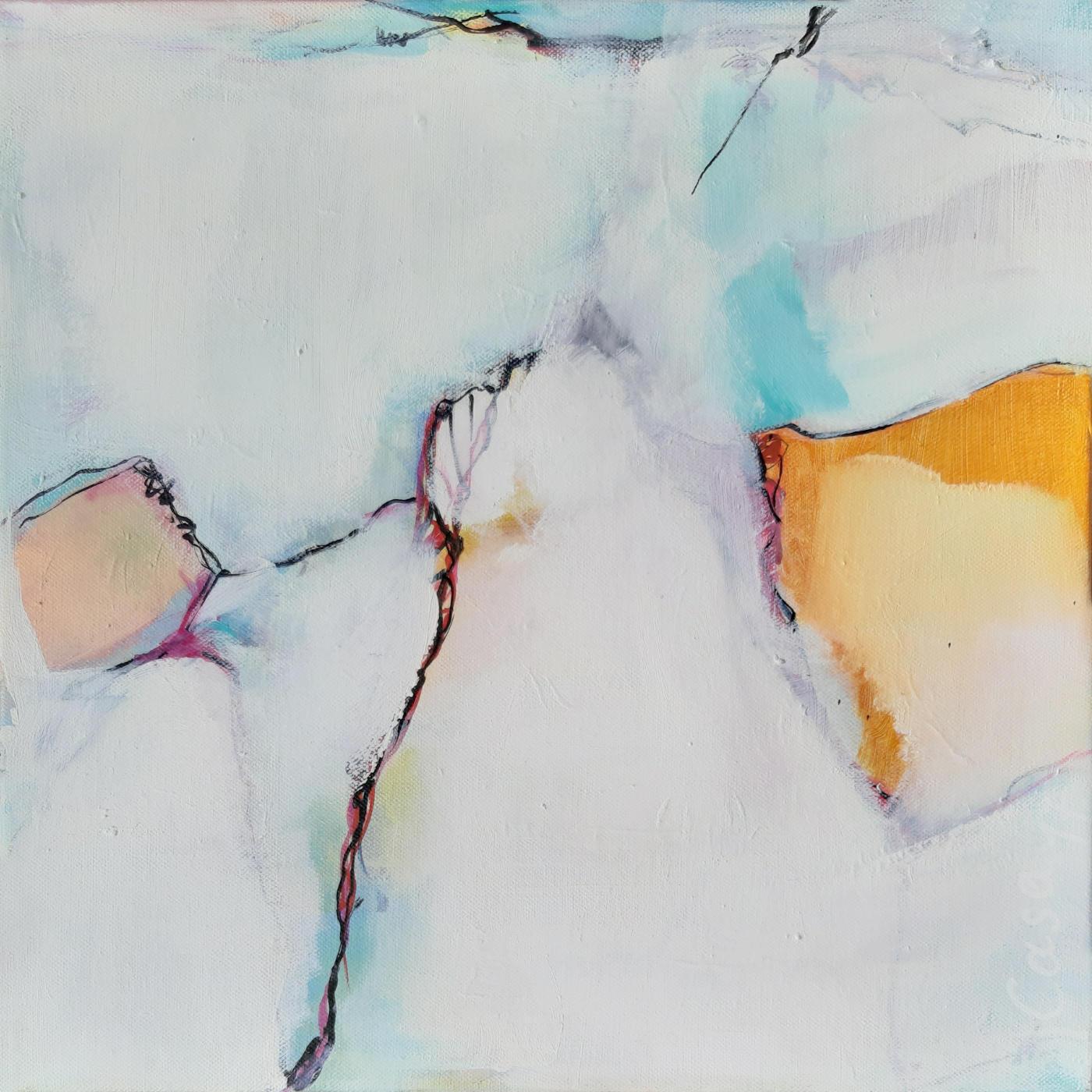 Leicht - Acryl und Tusche auf Leinwand, 40 x 40 cm
