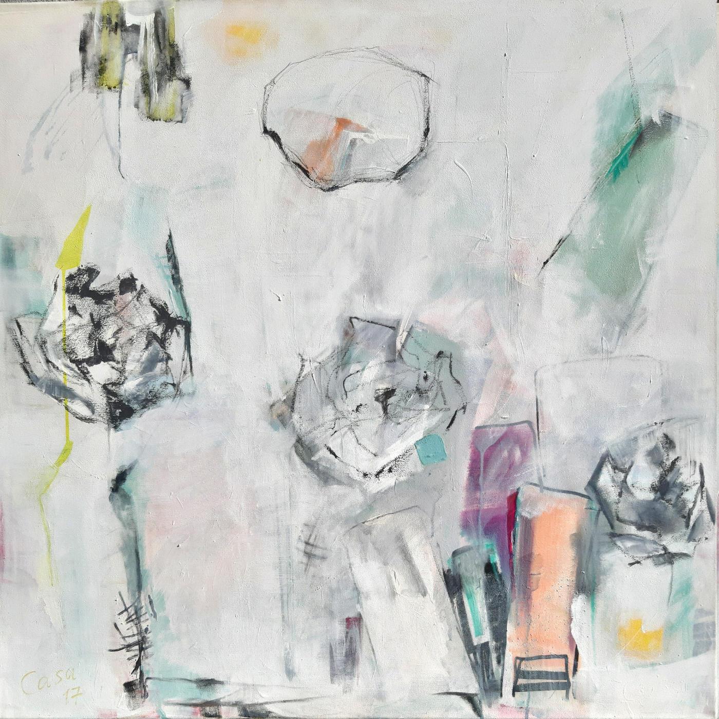 Geträumtes - Acryl, mixed media auf Leinwand, 100 x 100 cm