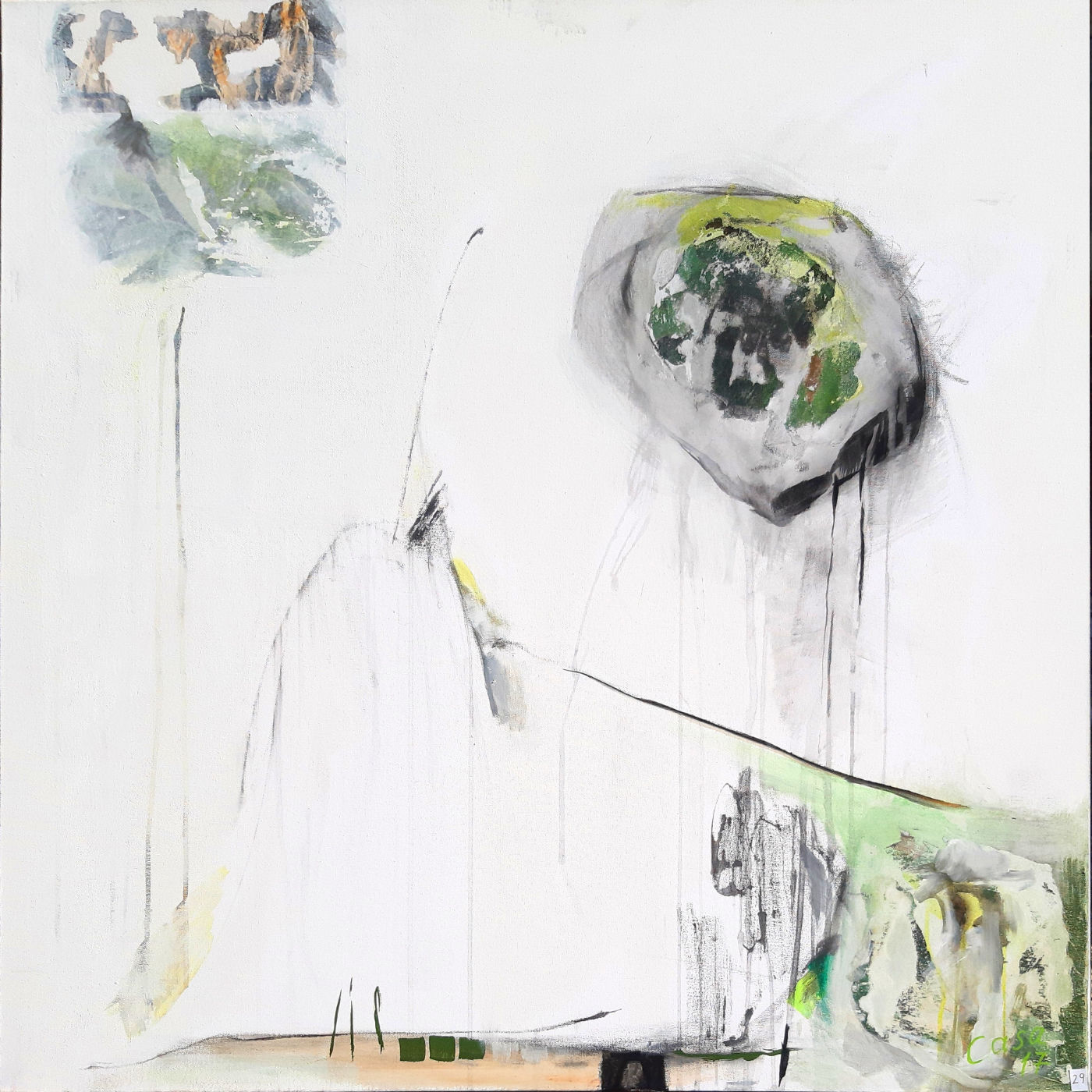 ohne Titel - Acryl, mixed media auf Leinwand, 100 x 100 cm
