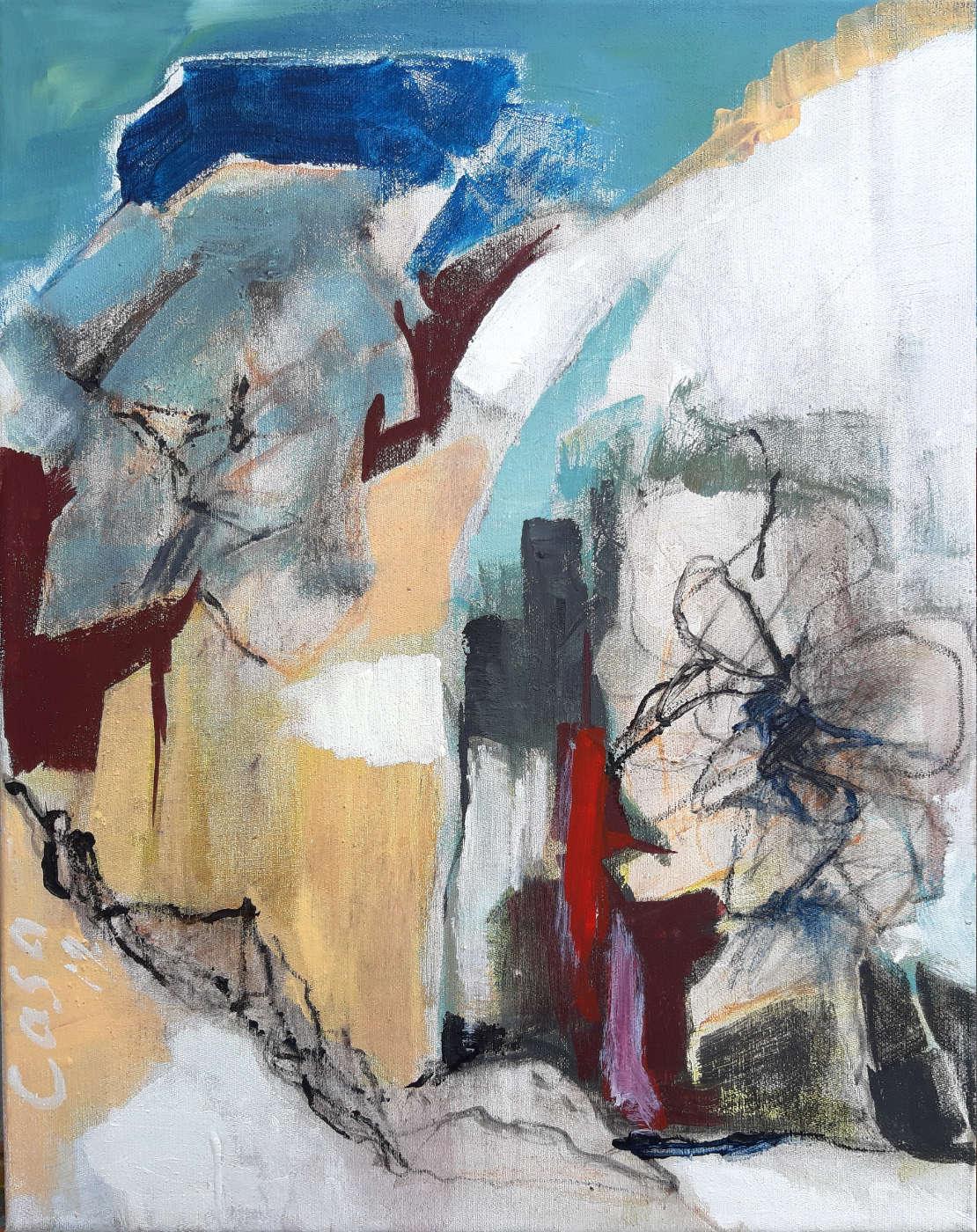 Dialogisch - Acryl, mixed media auf Leinwand, 50 x 40 cm