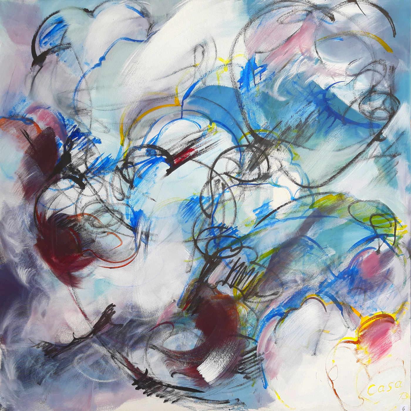 Sternentfernung II - Acryl, mixed media auf Leinwand, 100 x 100 cm