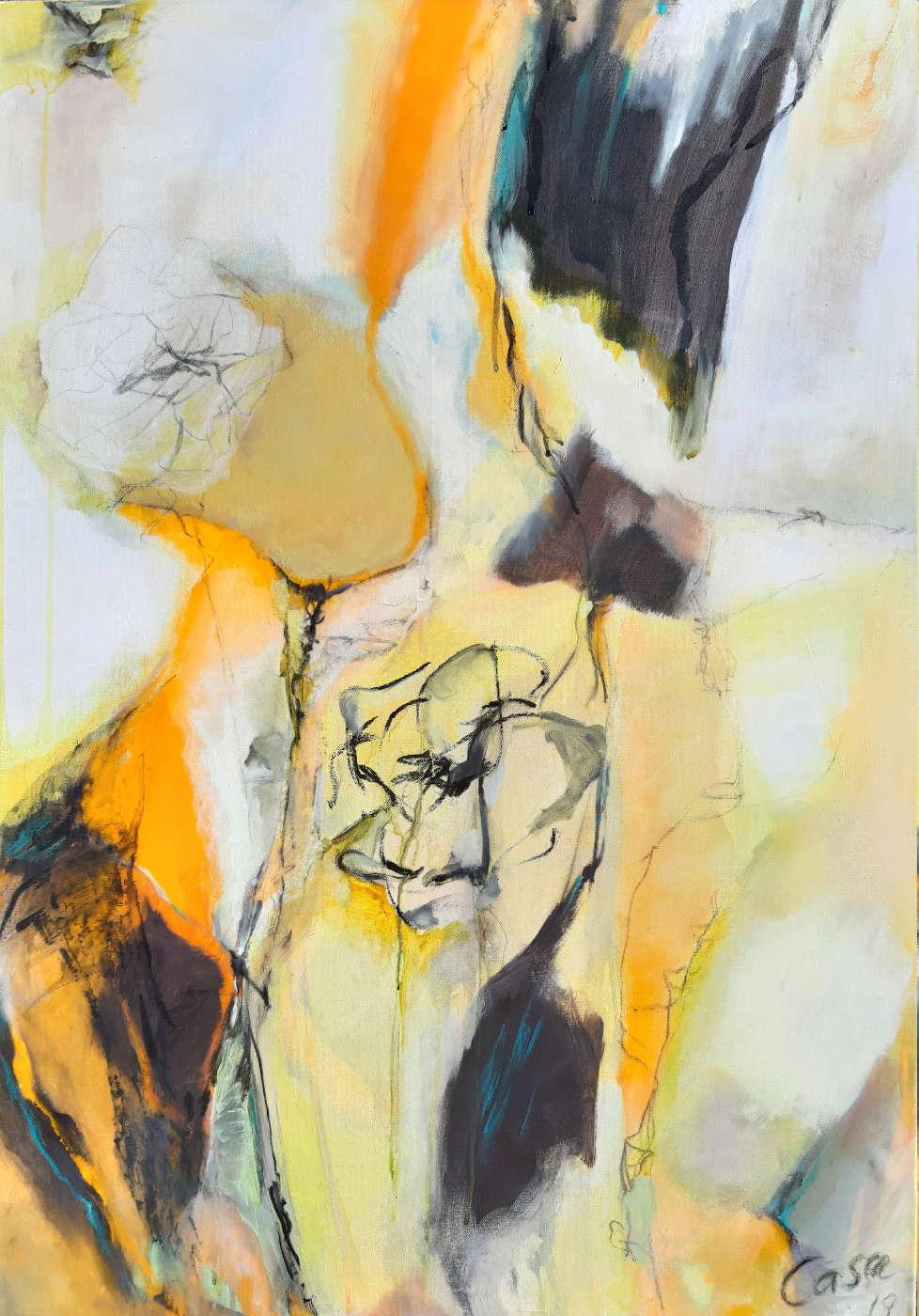 ohne Titel - Acryl, mixed media auf Leinwand, 100 x 70 cm