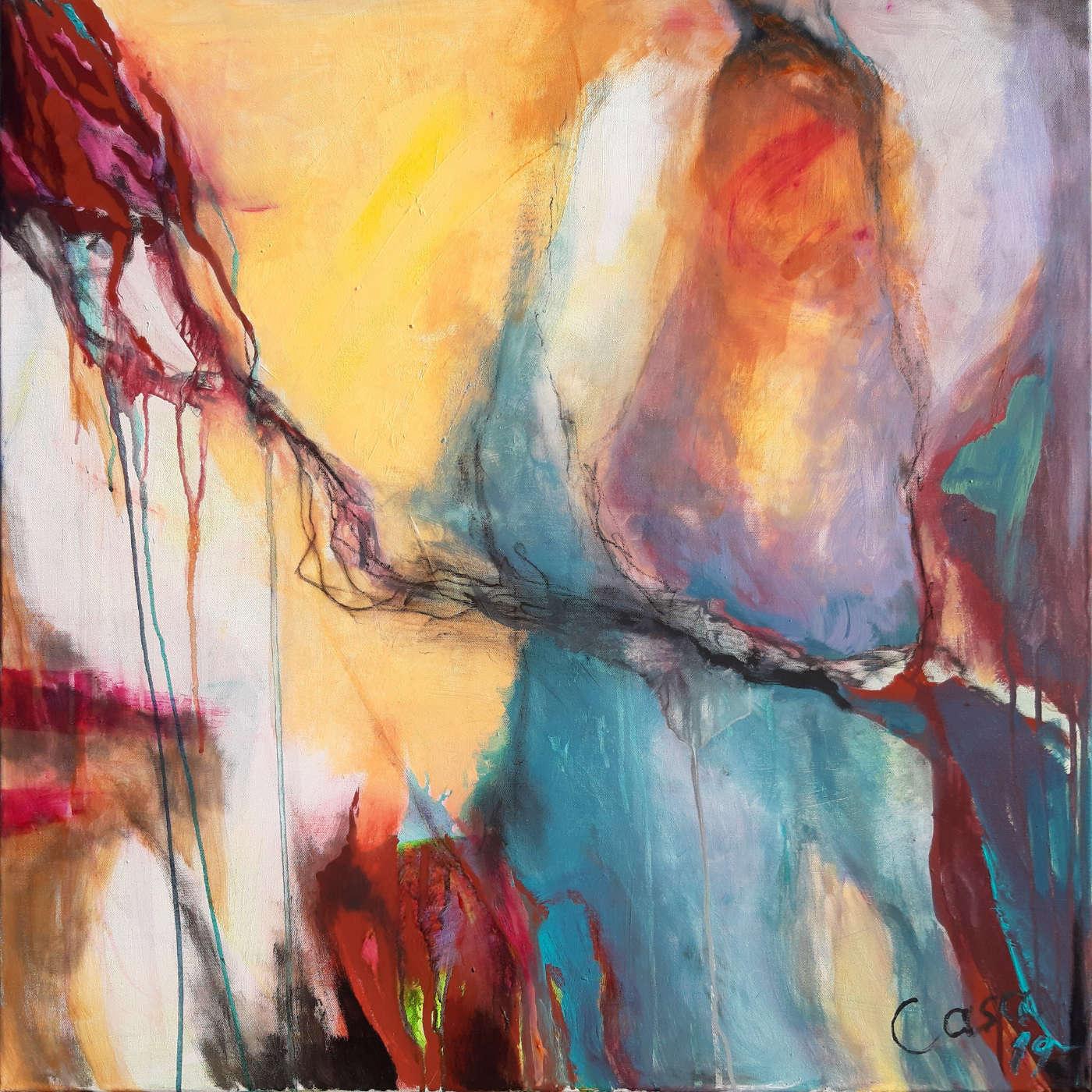 ohne Titel - Acryl, mixed media auf Leinwand, 80 x 80 cm
