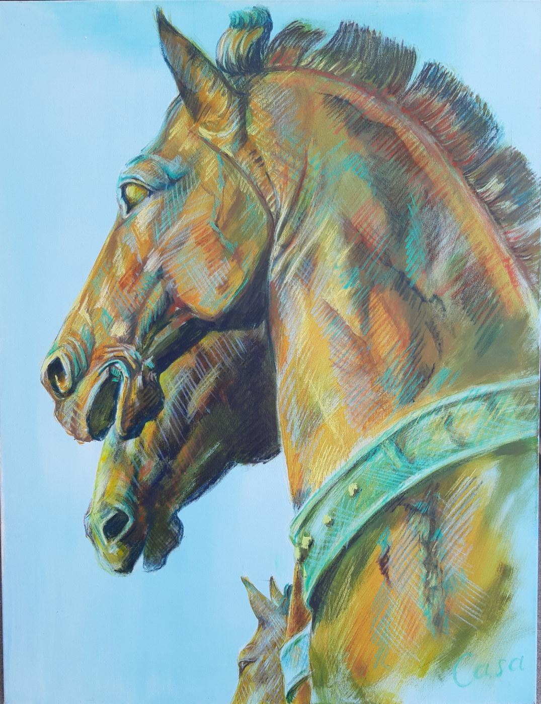 Die Bronze-Pferde von San Marco - Acryl und Kreide auf Leinwand - 150 x 100 cm