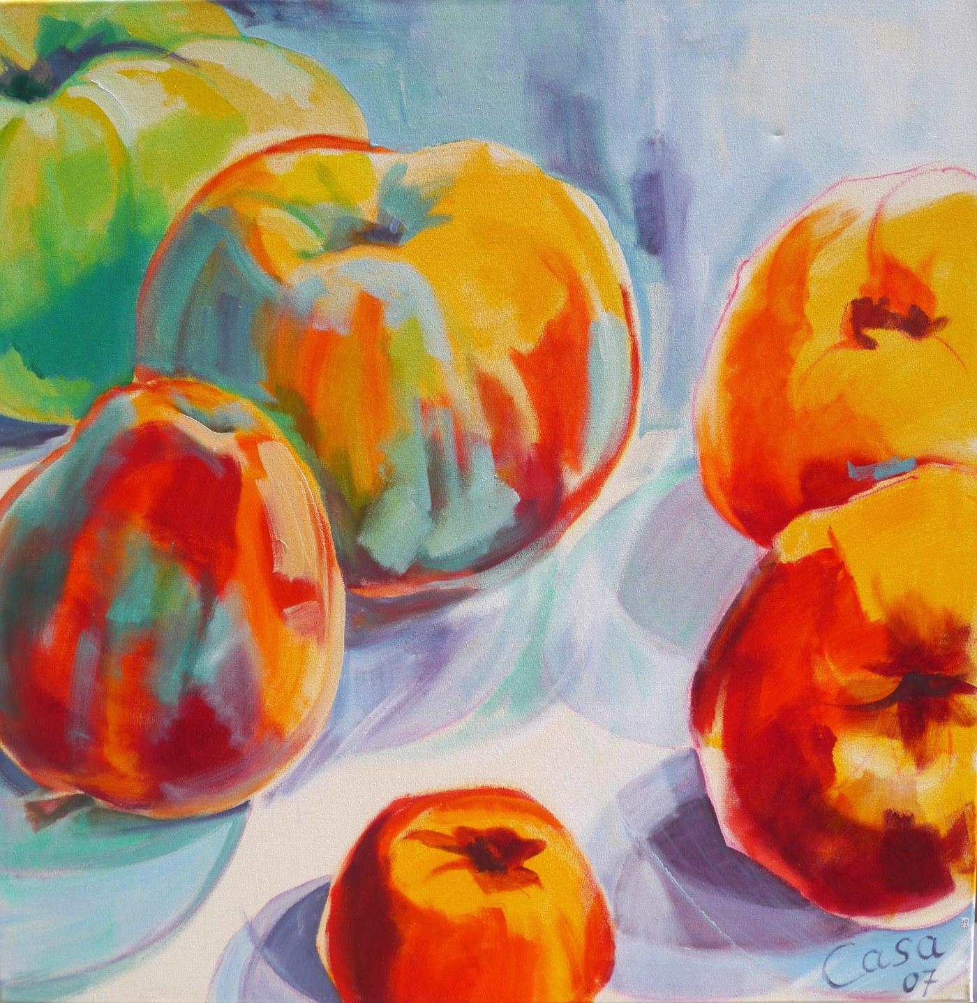 Sechs Äpfel - Acryl auf Leinwand - 100 x 100 cm