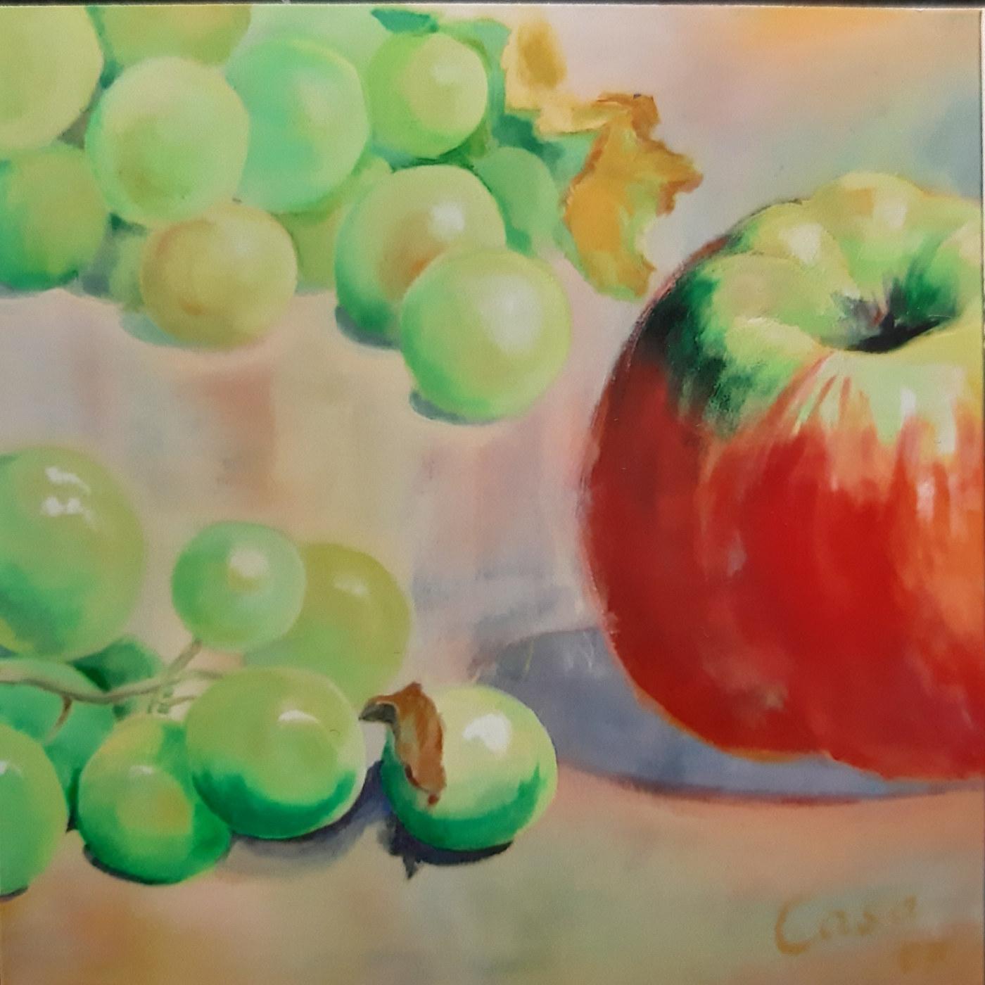 Apfel und Trauben - Acryl auf Leinwand - 70 x 70 cm