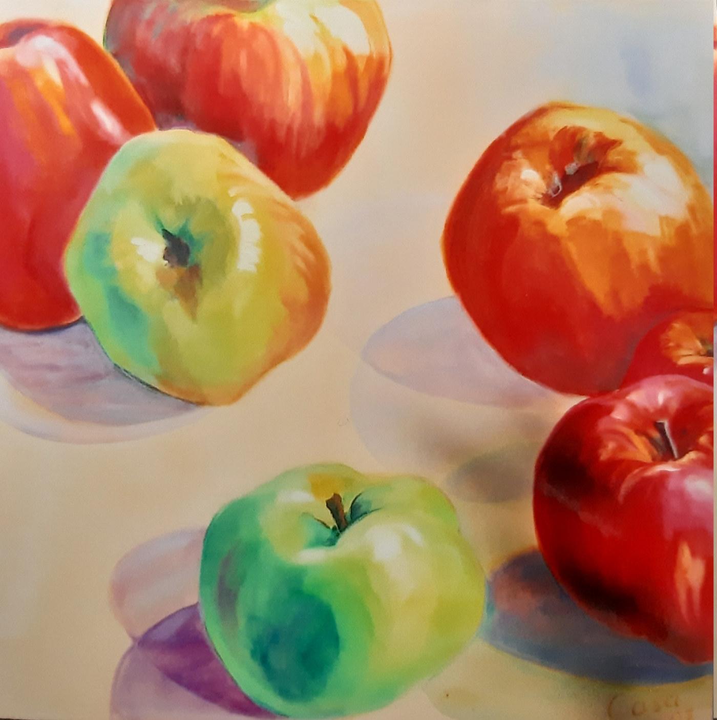 Äpfel im Angebot - Acryl auf Leinwand - 100 x 100 cm
